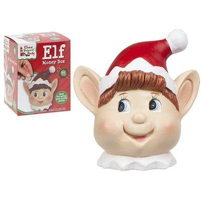 Handpainted Polystone Elf Head Design Assorted Money Box.colbox