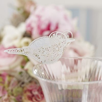 White Laser Cut Bird Place Cards