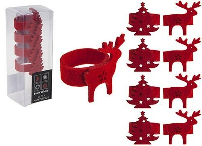 Set Of 4 Felt Napkin Rings In  Pvc Box 2asstd Designs
