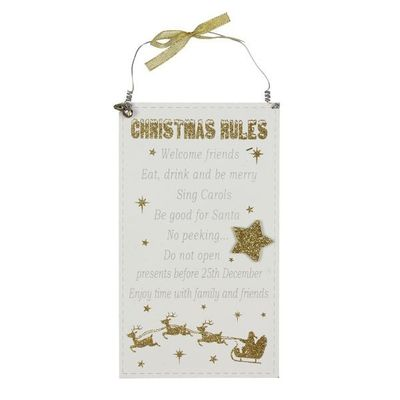 White And Gold Glitter Mdf Christmas Rules Plaque  by Juliana