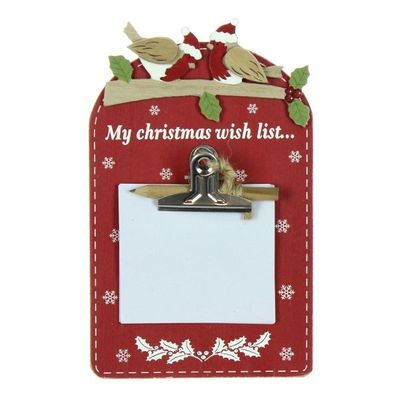 Mdf Red Santa List And Notepad  by Juliana