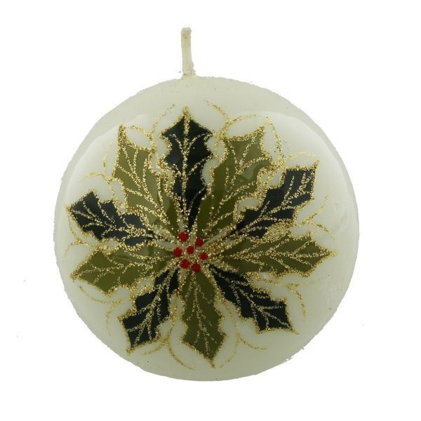 Bauble Candle White With Holly And Glitter Large  by Juliana