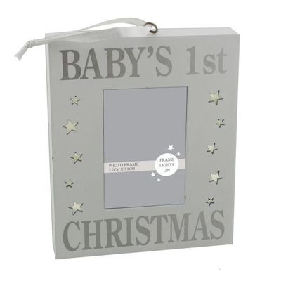 Light Up Mdf Wall Plaque Babys 1st Christmas  by Juliana