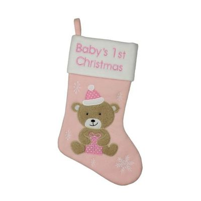 Pink Stocking Teddy Bear   babys 1st Christmas  by Juliana