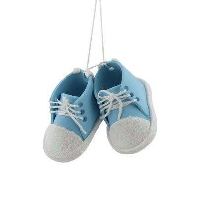 Baby Blue Bootees Tree Ornament  by Juliana