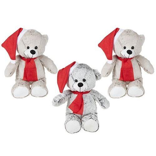 12 Inch Sitting Promotional  2tone Long Pile Santa Bear+acs