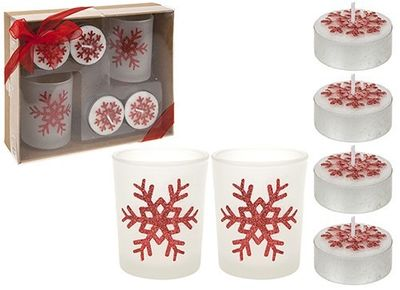 6 Piece Tealight Candle And Votive Set In Gift Box Red Only