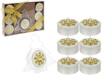 8 Piece Tealight Candle Set In Gift Box Gold Only