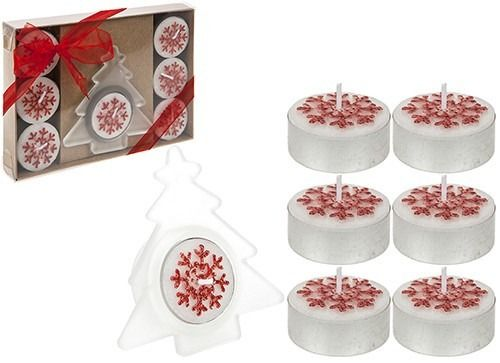 8 Piece Tealight Candle Set In Gift Box Red Only