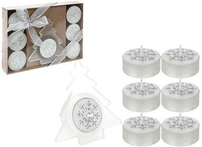 8 Piece Tealight Candle Set In Gift Box Silver Only