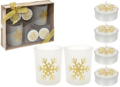 6 Piece Tealight Candle And Votive Set In Gift Box Gold Only
