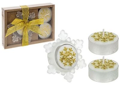 4 Piece Snowflake Candle And Holder Gift Set Gold Only