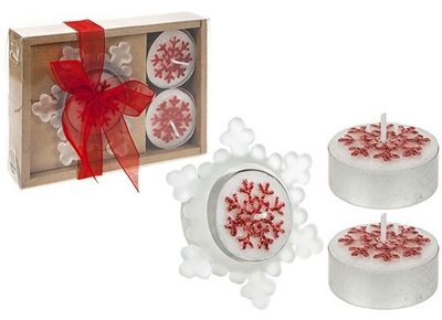 4 Piece Snowflake Candle And Holder Gift Set Red Only