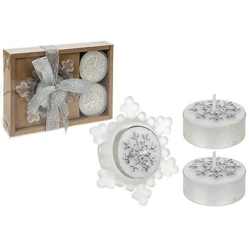 4 Piece Snowflake Candle And Holder Gift Set Silver Only