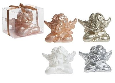 Large Cherub Candle Decoration In Pvc Gift Box With Ribbon 4asst