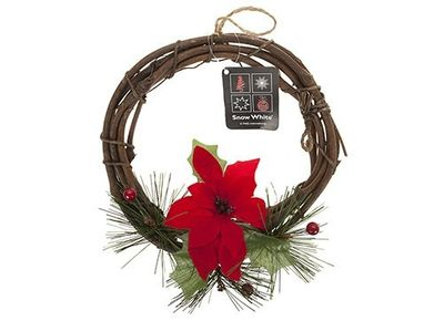 8 Inch Rattan Wreath With Poinsettia & Berries In Pp Bag With Hang Tag