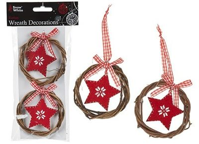 Set Of 2 8cm Rattan Wreath Decorations Opp Bag With Header