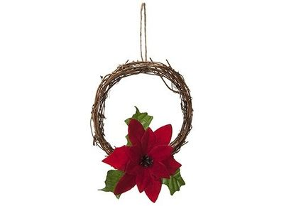 6 Inch Rattan Wreath With Poinsettia In Pp Bag With Header Card