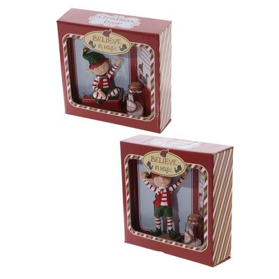 Message To Santa Christmas Elf Figure With Wishes Jar