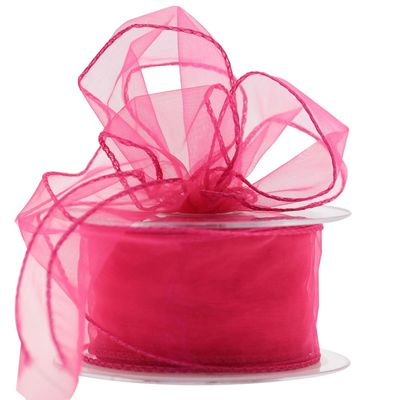 60mm Shocking Pink Chiffon Ribbon