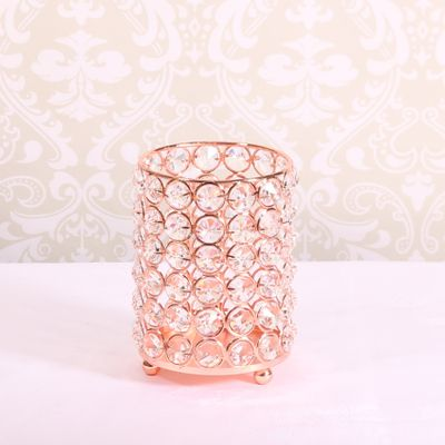 Rose Gold Crystal Candle Holder