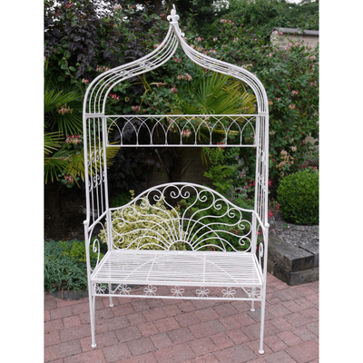 White Metal Arbour With Seat
