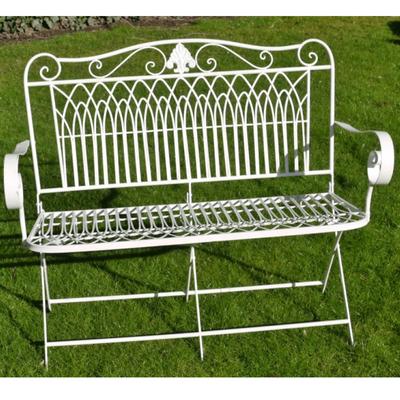 White Folding Garden Bench