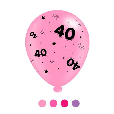 Age 40 Pink Mix  Latex Balloons x 6 pks of 8 balloons (1/48)
