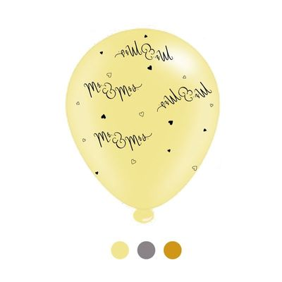 Mr and Mrs Latex Balloons x 6 pks of 8 balloons (1/48)