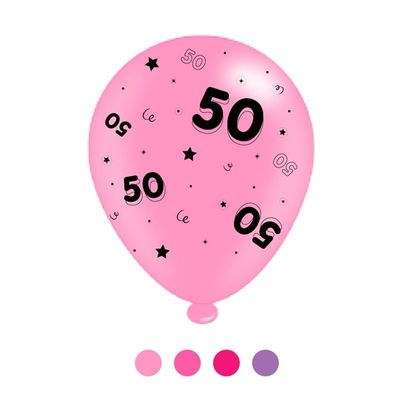 Age 50 Pink Mix  Latex Balloons x 6 pks of 8 balloons (1/48)