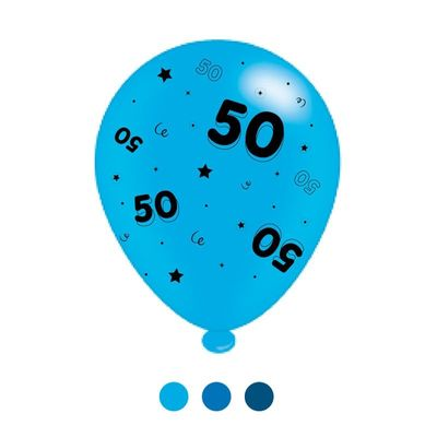 Age 50 Blue Mix  Latex Balloons x 6 pks of 8 balloons (1/48)