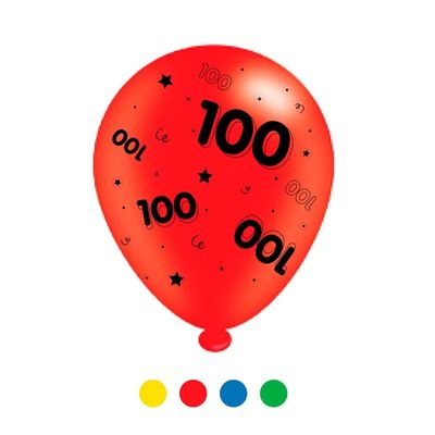 Age 100 Unisex Mix Latex Balloons x 6 pks of 8 balloons (1/48)