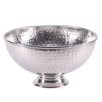 25cm Dimpled Punch Bowl Shiny Silver  (1/12)