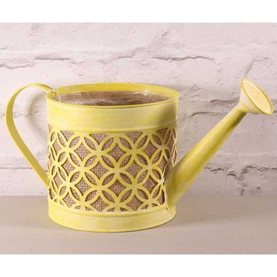 17CM Watering Can w/Hessian in Yellow (4/12)