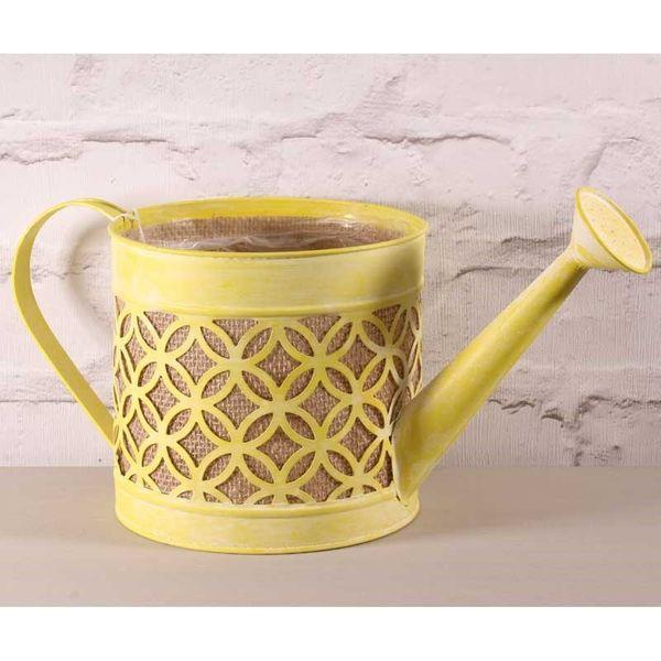 17CM Watering Can w/Hessian in Yellow (4/12)