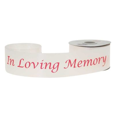 2 inch x 50 yards In Loving Memory Poly Ribbon - White with red text