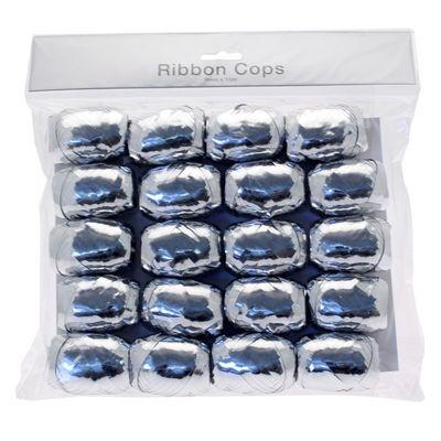 Metallic Silver Ribbon Cops x 20 ()