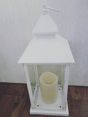 38.5 X15 White Lantern  w /LED candle