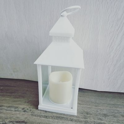 24 X 10.5cm White Lantern  w /LED candle