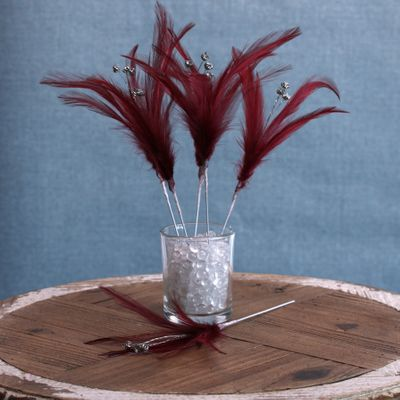 Diamante Feather Bunch x 6 Burgundy