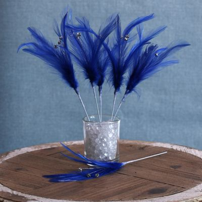 Diamante Feather Bunch x 6 Royal Blue