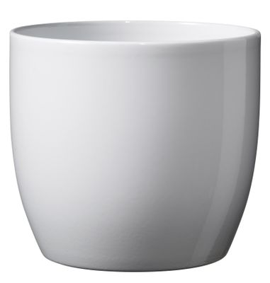 Basel Full Color Ceramic Pot Shiny White (21cm)