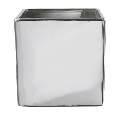 Latina Metallic Ceramic Pot Shiny Mirror Silver (13cm)