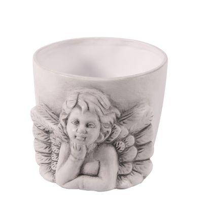 Grey Wash Ceramic Cherub Pot (24)