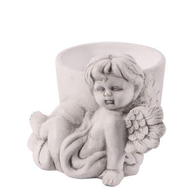 Grey Wash Ceramic Cherub Pot  (18)