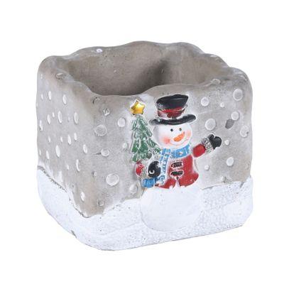 Square Cement Pot w/Snowman D�cor (8)