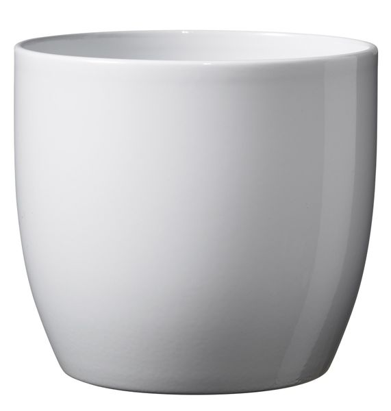 Basel Full colour Pot - Shiny White (10cm x 8cm)