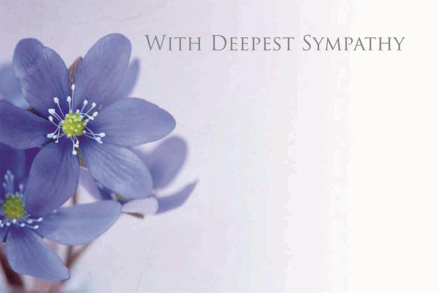 """""""with deepest sympathy"""" blue flower sympathy card x50"""