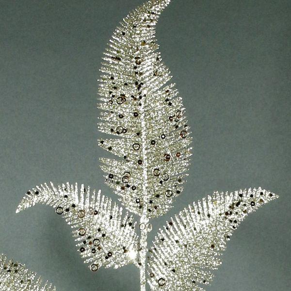 Glitter Fern Leaf Spray (Champagne) (24/288)
