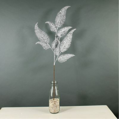 Glitter Fern Leaf Spray (Silver) (24/288)
